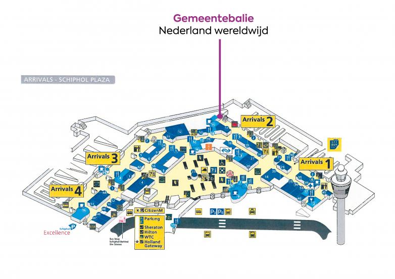 Floor plan Schiphol - which indicates where you can find Schiphol Desk